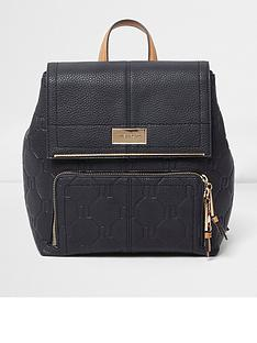 river-island-navy-embossed-ruck-sack