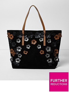 river-island-river-island-harper-black-3d-leather-tote-bag