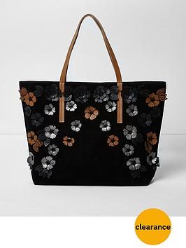 river-island-river-island-harper-black-3d-leather-tote-bag