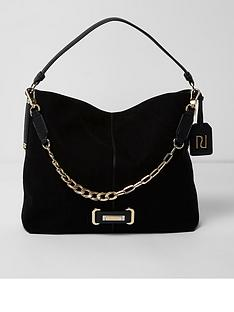 river-island-river-island-chain-front-slouch-bag--black