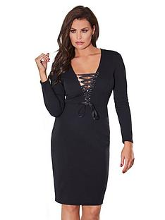 jessica-wright-zelia-lace-up-bodycon-dress-black