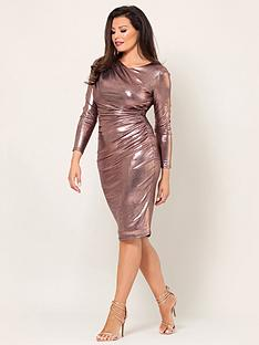 jessica-wright-paulie-long-sleeve-rose-gold-gather-dress-rose