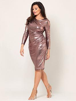 Jessica Wright Paulie Long Sleeve Rose Gold Gather Dress - Rose