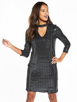 wallis-shimmer-sequin-collar-swing-dress