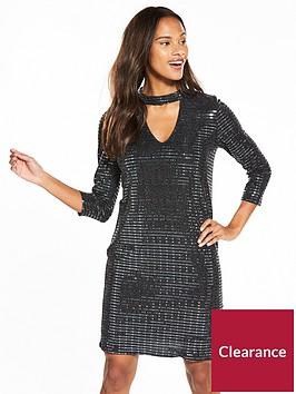 wallis-shimmer-sequin-collar-swing-dress