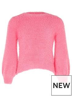 river-island-girls-pink-balloon-sleeve-fluffy-knit-jumper