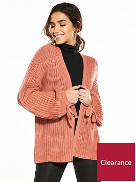 v-by-very-tie-cuff-blouson-sleeve-fisherman-rib-cardigan-berry-rose