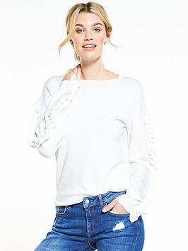 v-by-very-double-frill-sleeve-detail-jumper-ivory