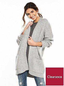 v-by-very-twist-detail-rib-chunky-cardigan-grey-marl