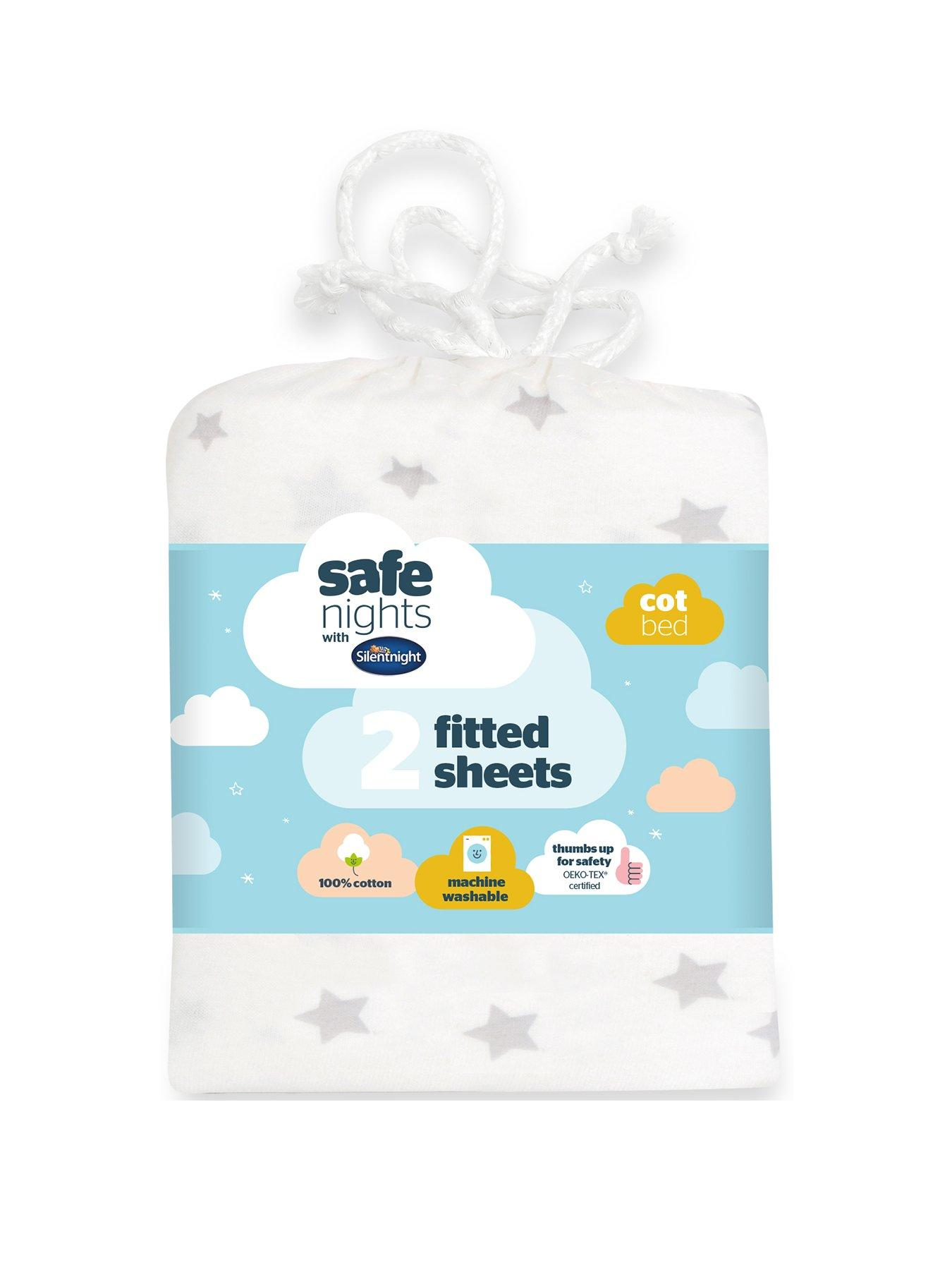 Grey Stars /& Stripes 2 Pack Fitted Cot Bed Sheets