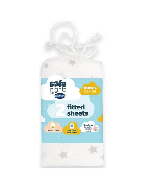silentnight-2-pack-jersey-printed-stars-fitted-moses-basket-sheets