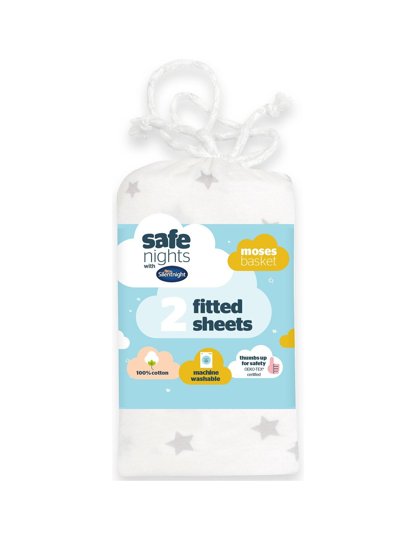 Moses Basket 2 Pack Fitted Sheets