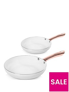 tower-linear-rose-gold-set-of-2-frying-pans-in-white