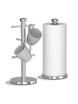 Morphy Richards Accents Mug Tree And Towel Pole Set – Stainless Steel