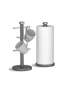 morphy-richards-accents-mug-tree-and-towel-pole-set-ndash-titanium