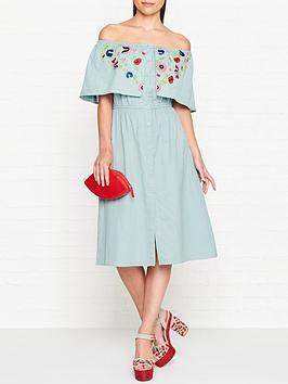 pampelone-maddalena-midi-embroidered-frill-dress-blue