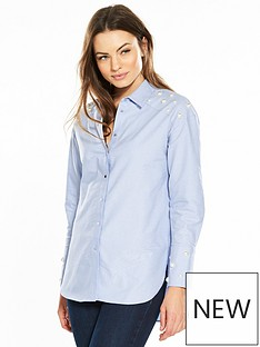 river-island-river-island-pearl-detail-chambray-shirt--blue