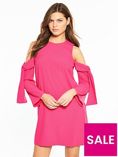 river-island-river-island-cold-shoulder-swing-dress--bright-pink