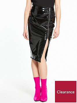 river-island-river-island-high-shine-vinyl-pencil-skirt--black