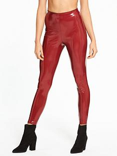river-island-river-island-skinny-highrise-vinyl-trousers--red