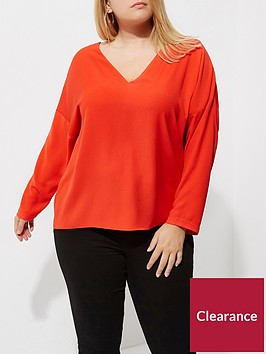 ri-plus-lace-up-back-blouse--red