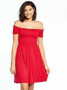 v-by-very-shirred-bardot-jersey-dress-red