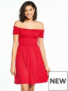 v-by-very-shirred-bardot-jersey-dress-red
