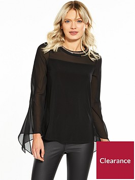 wallis-embelished-neck-tie-sleeve-top