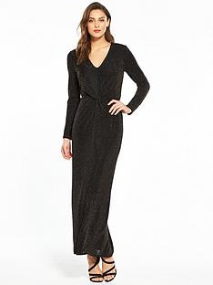 wallis-sparkle-knot-front-maxi-dress-blacknbsp