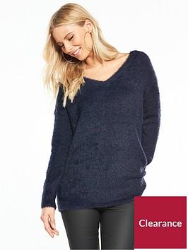 wallis-v-neck-eyelash-knitted-jumper-navy