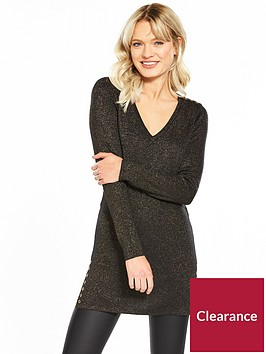 wallis-metallic-eyelet-tunic-jumper-black