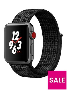 Apple Watch Nike+ Series 3 (GPS + Cellular), 38mm Space Grey Aluminium Case with Black/Pure Platinum Nike Sport Loop