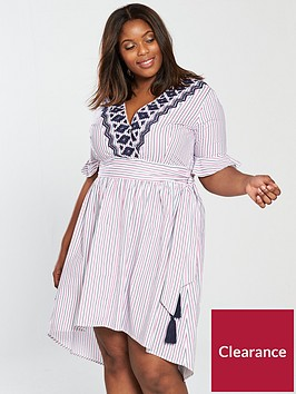 v-by-very-curve-stripe-cotton-wrap-dress