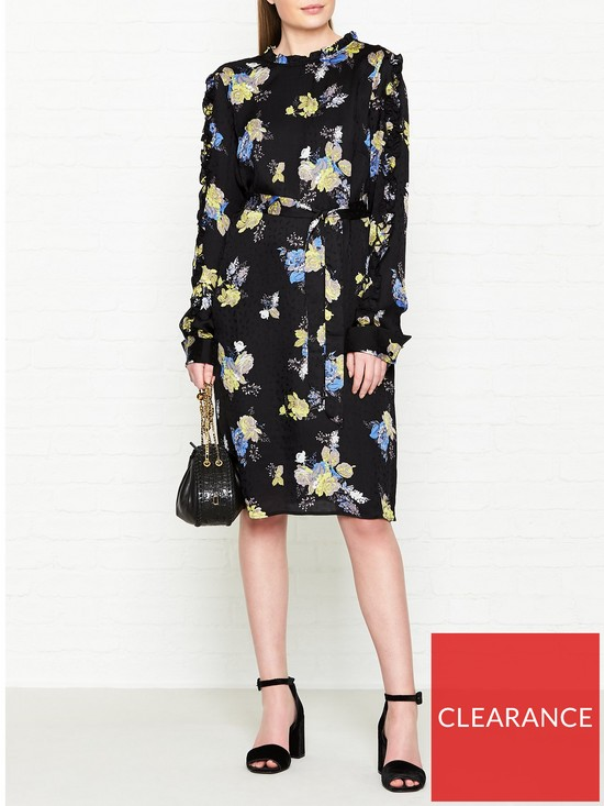 977135a47dbf GESTUZ Aia Floral Printed Frill Neck Dress - Black | very.co.uk