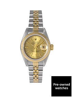 rolex-pre-owned-datejust-original-champagne-baton-dial-bimetal-ladies-watch-ref-69173