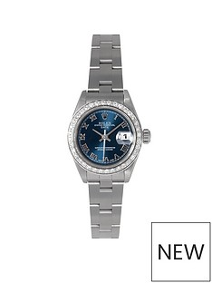 rolex-pre-owned-datejust-aftermarket-diamond-bezel-amp-blue-roman-numeral-dial-stainless-steel-ladies-watch-ref-79160
