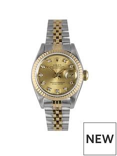 rolex-rolex-pre-owned-datejust-original-champagne-baton-dial-bimetal-ladies-watch-ref-69173
