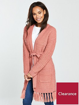 v-by-very-fringe-hem-belted-slubby-cardigan-blush