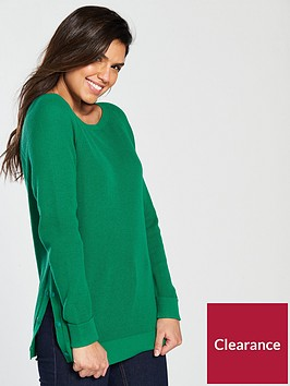 v-by-very-button-split-side-fisherman-rib-jumper-green