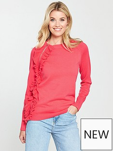 v-by-very-side-zip-frill-detail-jumper-coral-pink