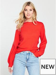 v-by-very-crew-neck-blouson-sleeve-jumper-orange