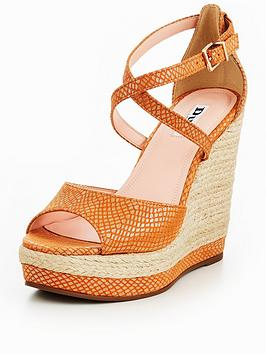 Dune London Kandis High Wedge Sandal - Orange