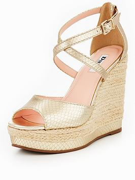 Dune London Kandis High Wedge Sandal - Gold