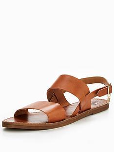 dune-lowpez-double-strap-flat-sandal-tan