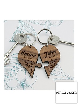 personalised-couples-romantic-joining-heart-keyring