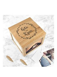 personalised-couples-large-photo-cube-with-wreath-design