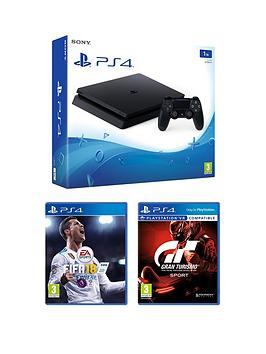 Image of Playstation 4 Slim 1Tb Console (Black) With Fifa 18 And Gt Sport Plus Optional Extra Controller And/Or 12 Months Playstation Network - Ps4 1Tb Black Slim Console With Fifa 18 And Gt Sport