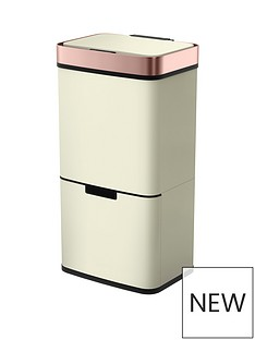 morphy-richards-pro-75l-sensor-bin-with-2-recycle-bins-ivory-with-rose-gold