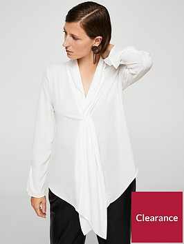 mango-drape-neck-blouse-off-white