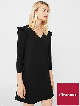 mango-v-neck-dress-black